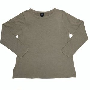 Eileen Fisher   Silk Blend Long Sleeve Top Size L